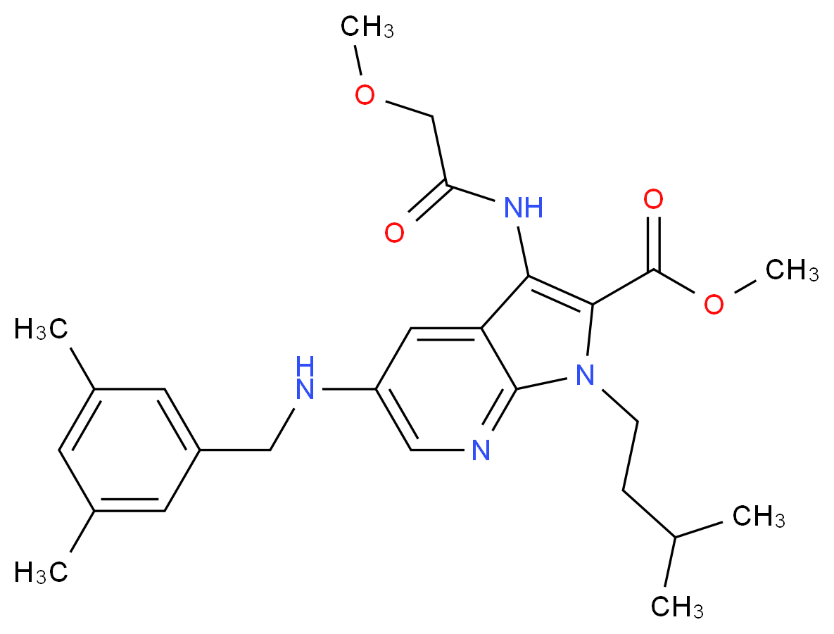 methyl 5-[(3,5-dimethylbenzyl)amino]-3-[(methoxyacetyl)amino]-1-(3-methylbutyl)-1H-pyrrolo[2,3-b]pyridine-2-carboxylate_Molecular_structure_CAS_)