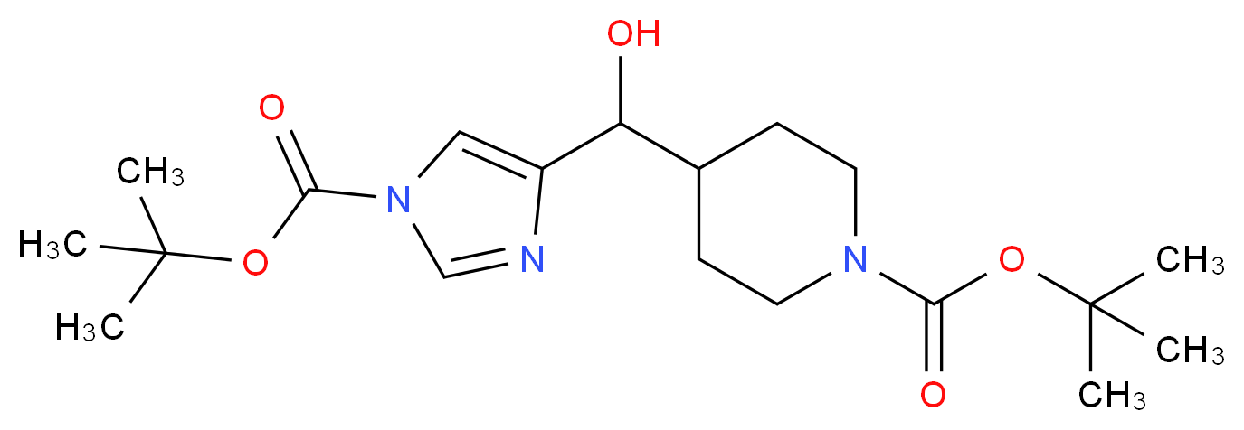 TERT-BUTYL 4-((1-(TERT-BUTOXYCARBONYL)-1H-IMIDAZOL-4-YL)(HYDROXY)METHYL)PIPERIDINE-1-CARBOXYLATE_Molecular_structure_CAS_639089-41-1)