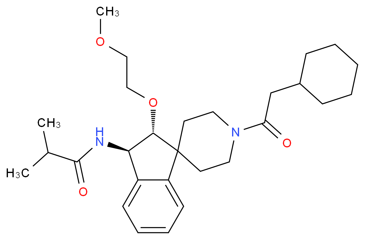 N-[(2R*,3R*)-1'-(cyclohexylacetyl)-2-(2-methoxyethoxy)-2,3-dihydrospiro[indene-1,4'-piperidin]-3-yl]-2-methylpropanamide_Molecular_structure_CAS_)
