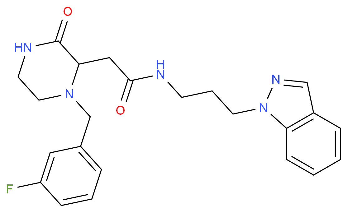 2-[1-(3-fluorobenzyl)-3-oxo-2-piperazinyl]-N-[3-(1H-indazol-1-yl)propyl]acetamide_Molecular_structure_CAS_)