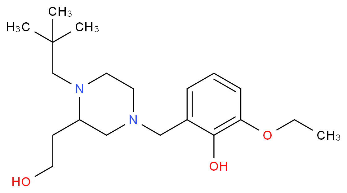 2-{[4-(2,2-dimethylpropyl)-3-(2-hydroxyethyl)-1-piperazinyl]methyl}-6-ethoxyphenol_Molecular_structure_CAS_)