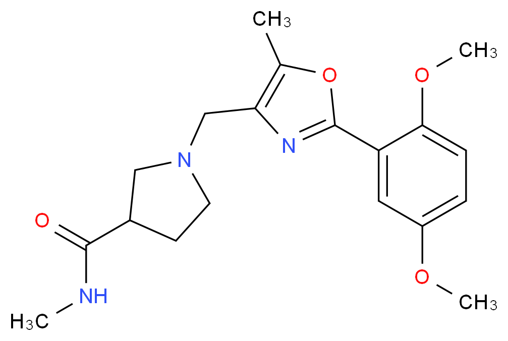 1-{[2-(2,5-dimethoxyphenyl)-5-methyl-1,3-oxazol-4-yl]methyl}-N-methylpyrrolidine-3-carboxamide_Molecular_structure_CAS_)