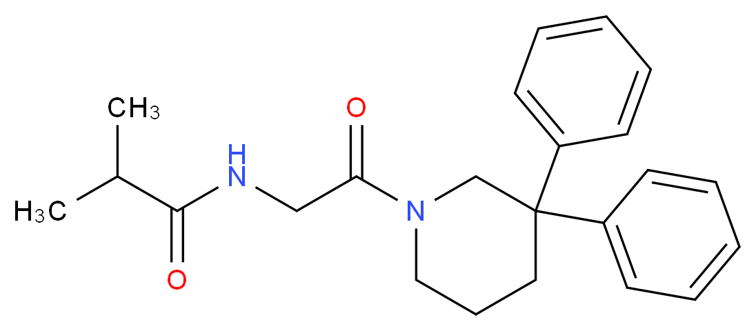 N-[2-(3,3-diphenylpiperidin-1-yl)-2-oxoethyl]-2-methylpropanamide (non-preferred name)_Molecular_structure_CAS_)