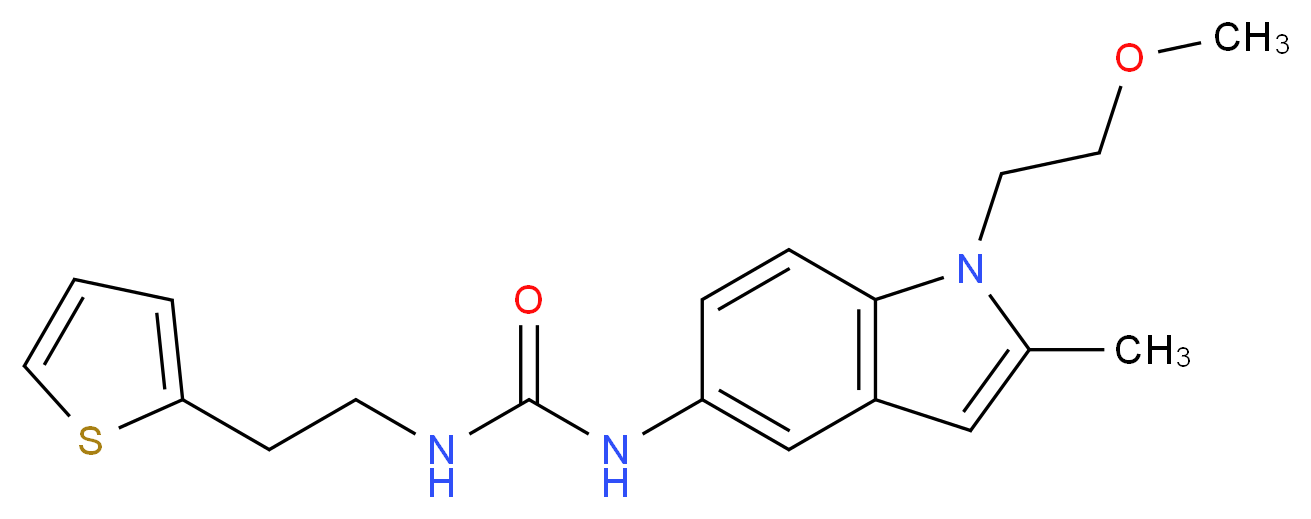 N-[1-(2-methoxyethyl)-2-methyl-1H-indol-5-yl]-N'-[2-(2-thienyl)ethyl]urea_Molecular_structure_CAS_)