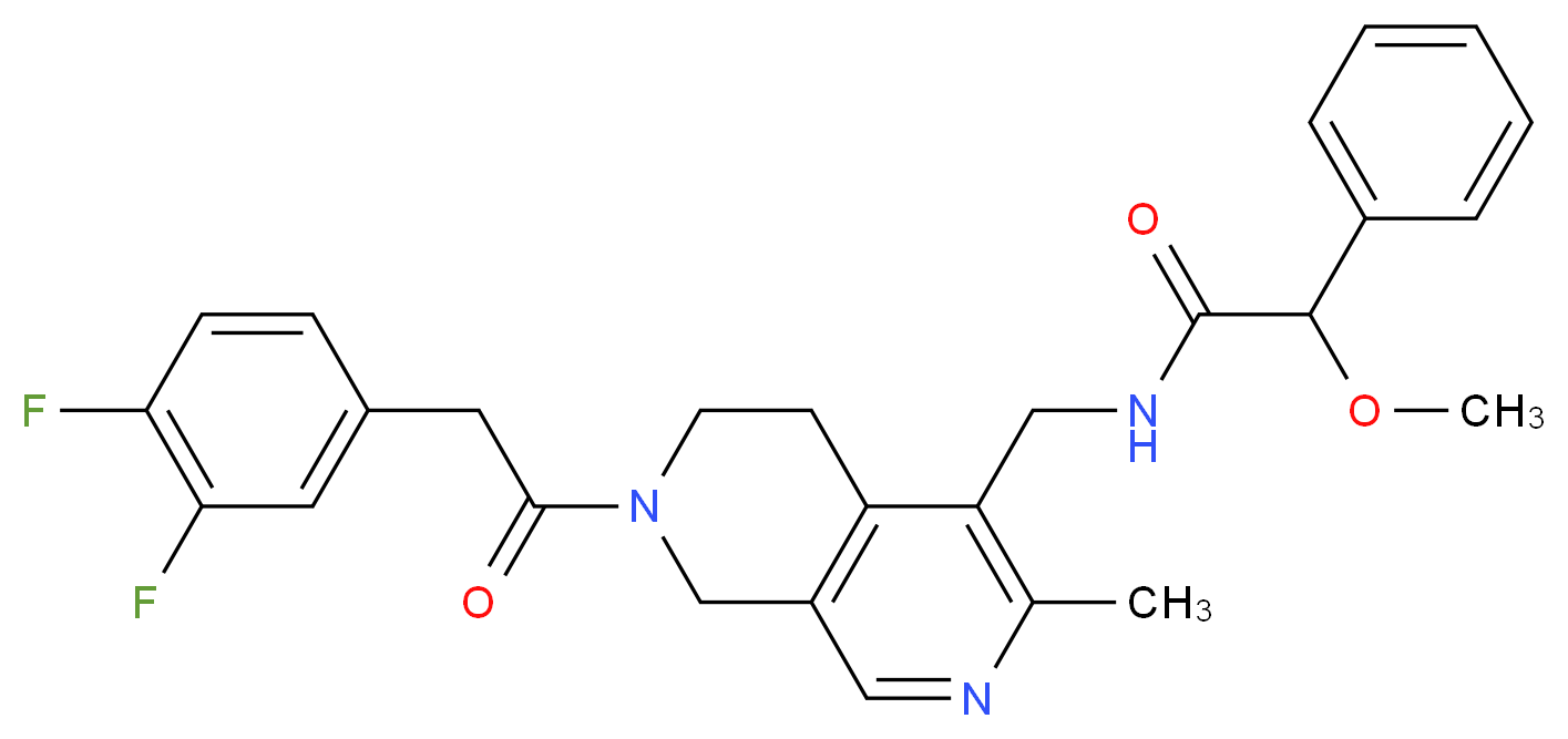 N-({7-[(3,4-difluorophenyl)acetyl]-3-methyl-5,6,7,8-tetrahydro-2,7-naphthyridin-4-yl}methyl)-2-methoxy-2-phenylacetamide_Molecular_structure_CAS_)
