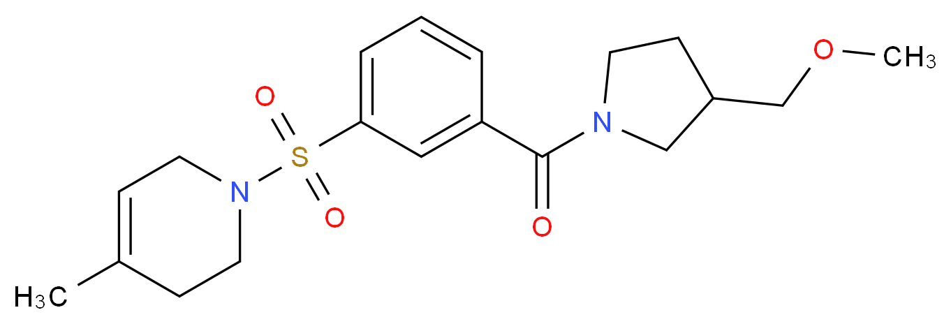 1-[(3-{[3-(methoxymethyl)pyrrolidin-1-yl]carbonyl}phenyl)sulfonyl]-4-methyl-1,2,3,6-tetrahydropyridine_Molecular_structure_CAS_)