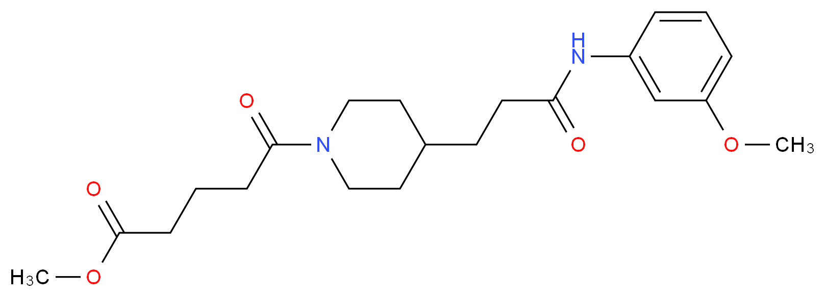 methyl 5-(4-{3-[(3-methoxyphenyl)amino]-3-oxopropyl}-1-piperidinyl)-5-oxopentanoate_Molecular_structure_CAS_)