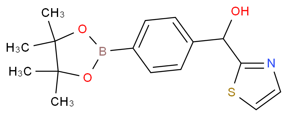 4-[Hydroxy(2-thiazolyl)methyl]benzeneboronic acid pinacol ester_Molecular_structure_CAS_1073371-73-9)