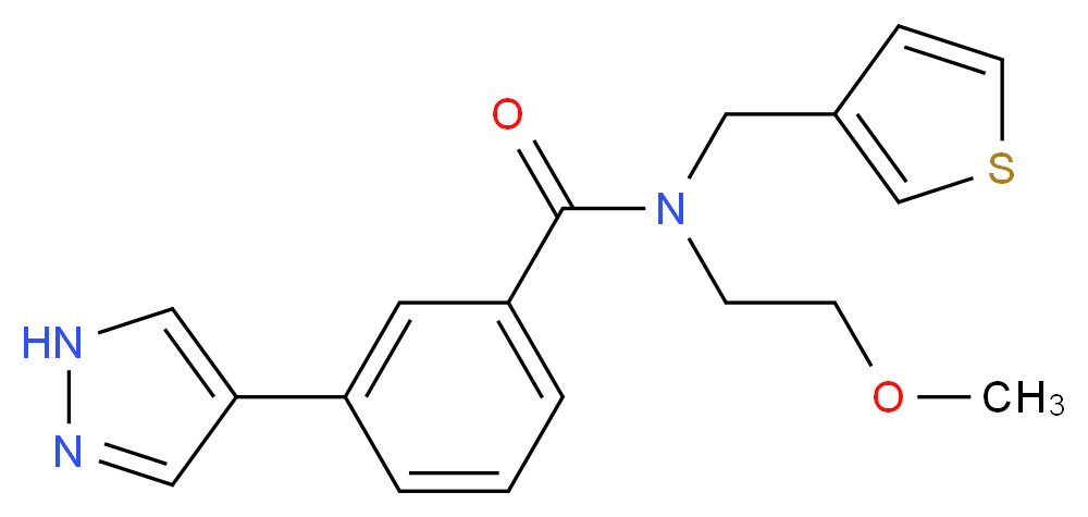 N-(2-methoxyethyl)-3-(1H-pyrazol-4-yl)-N-(3-thienylmethyl)benzamide_Molecular_structure_CAS_)