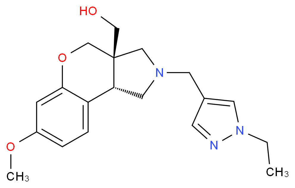 [(3aS*,9bS*)-2-[(1-ethyl-1H-pyrazol-4-yl)methyl]-7-methoxy-1,2,3,9b-tetrahydrochromeno[3,4-c]pyrrol-3a(4H)-yl]methanol_Molecular_structure_CAS_)